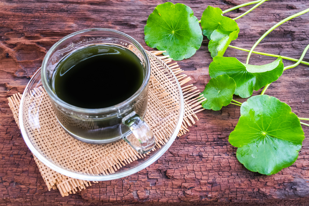 asiatic water, herbal drink on wooden background